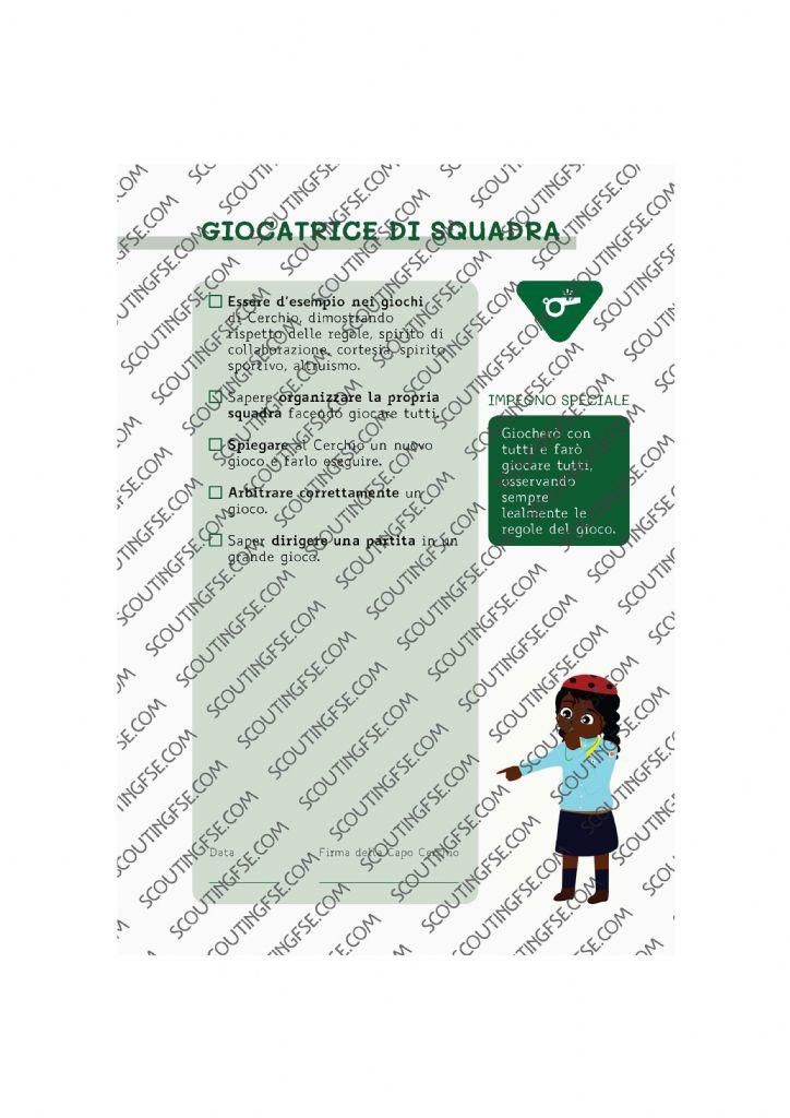 CARD SPE. COC. VER. GIOCATRICE DI SQUADRA